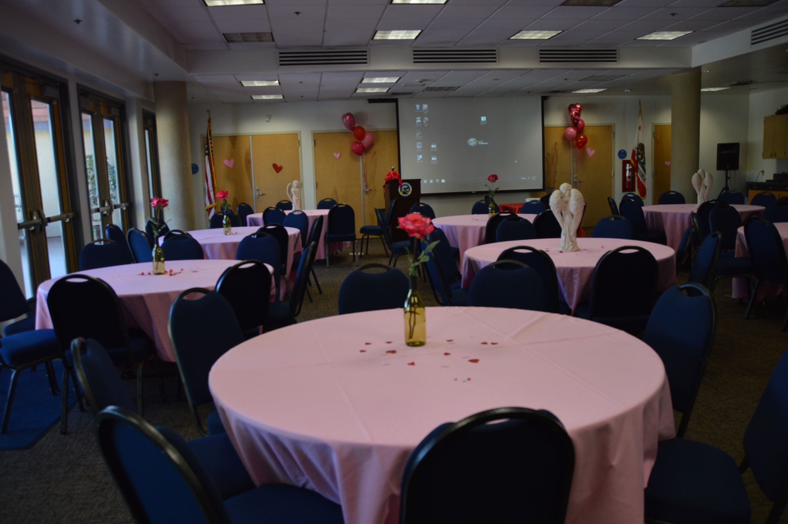 Image of room A at the Aquatic Center decorated for a party