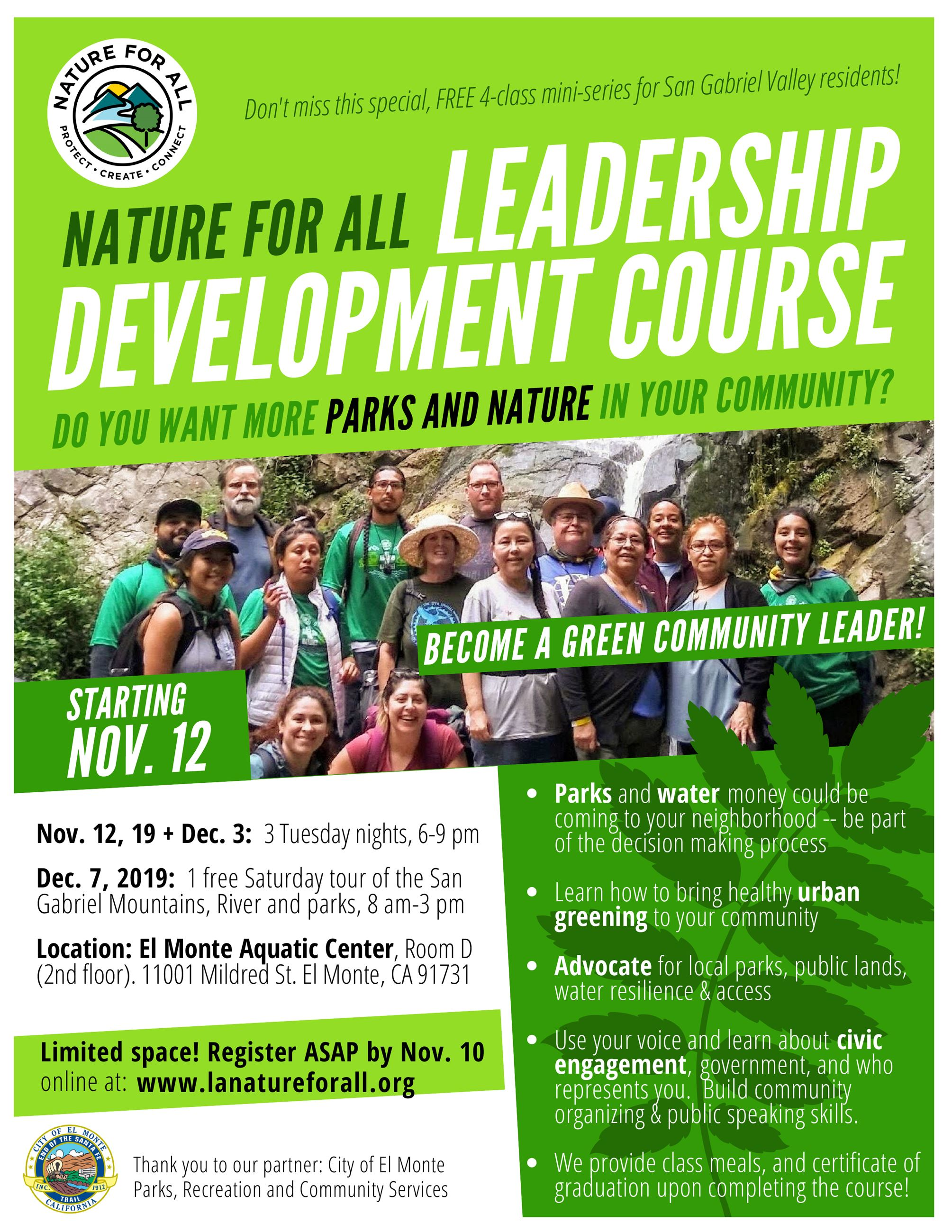 2019-11-12 Nature for All Leadership Dev SGV Flyer