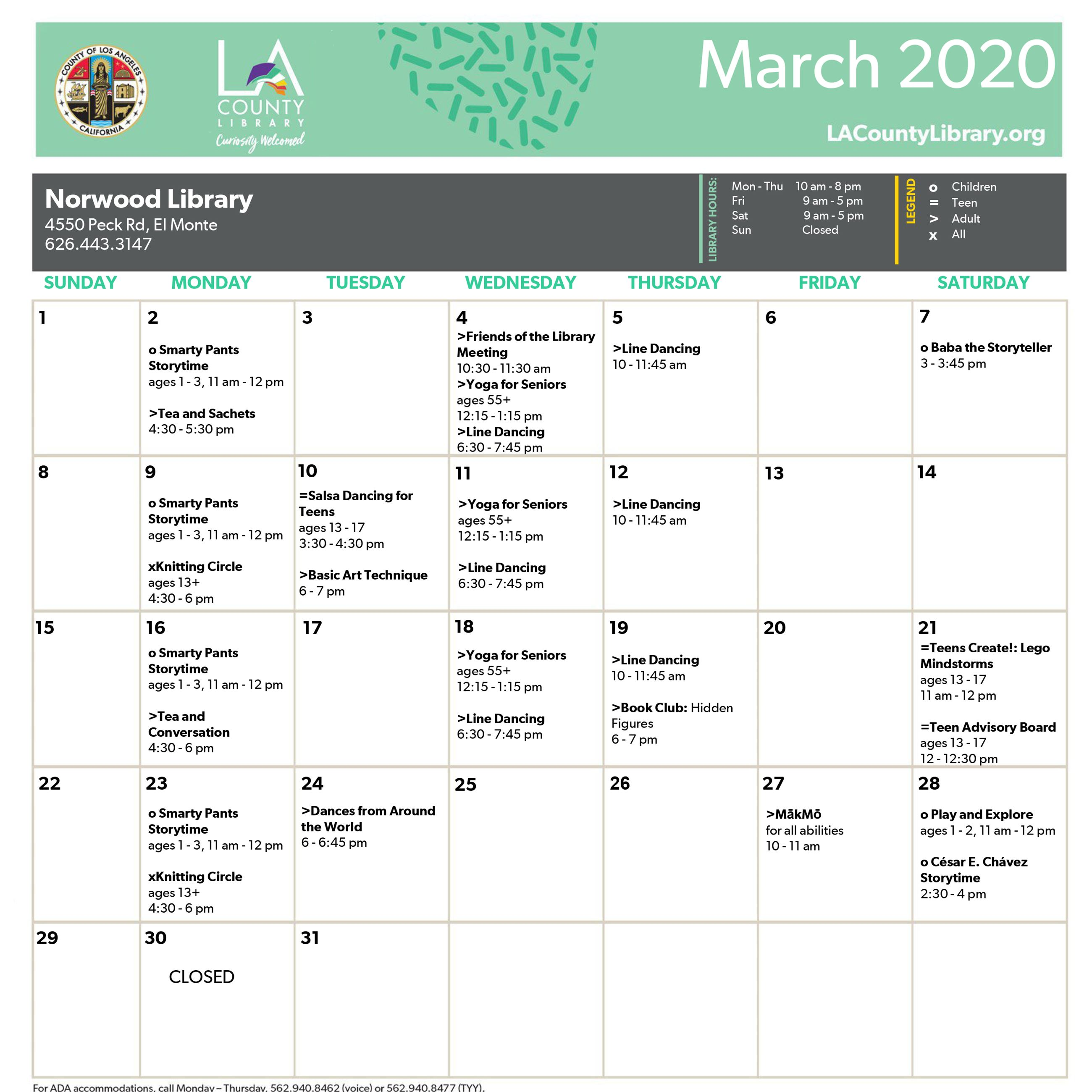 Norwood Library _calendar March 2020